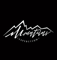 mountains logo logotype template hand drawn vector image