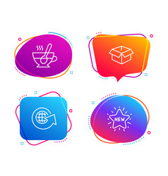 opened box world globe and tea cup icons set new vector image