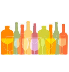 outline wine bottles and glasses silhouettes in vector image