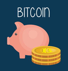 piggy savings with bitcoin business vector image