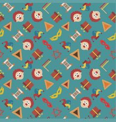 Purim holiday flat design icons seamless pattern vector