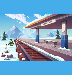 railway station mountains winter snowy landscape vector image