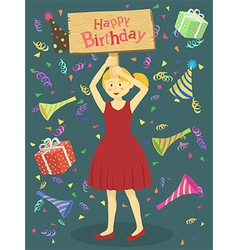 Red Dress Birthday Girl vector image