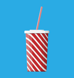 red striped paper glass with drinking straw vector image