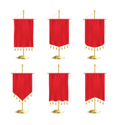 Red various shapes pennants or flags set 3d vector