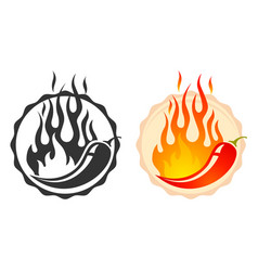 Retro emblem with hot chilli and fire vector