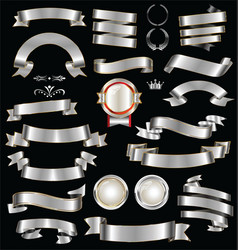 retro silver ribbons and labels collection vector image