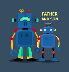 Robots father and son vector