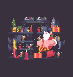 Santa claus and elves pack gifts vector
