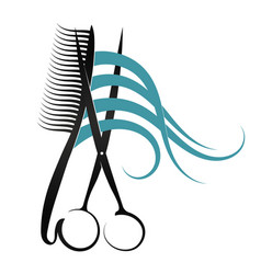 Scissors and comb design vector