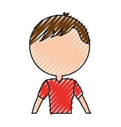 Scribble faceless upper body man cartoon vector