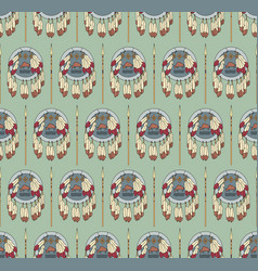 Seamless native american pattern with shields vector