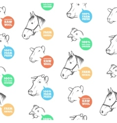 Seamless Pattern with different farm animals vector