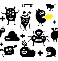 seamless wallpaper with cute funny monsters vector image
