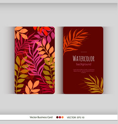 Set autumn floral watercolor card with leaves vector