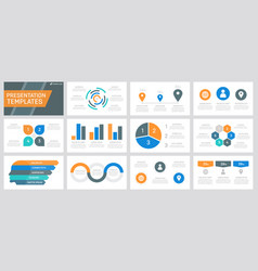 set grey orange blue and turquoise elements vector image