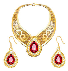 Set indian wedding necklace and earrings vector