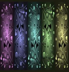 Set of bronze patterns from metallic green plants vector