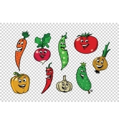 Set of fresh cute vegetable characters vector