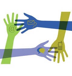 Set of hands with communication icons vector image