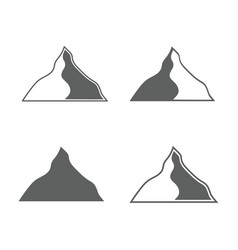 Set of monochrome forms of mountains vector