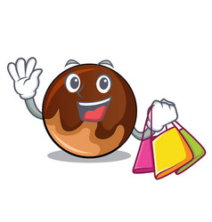 Shopping chocolate donut character cartoon vector