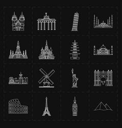 Sixteen flat landmark icons vector
