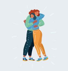 Smiling woman hug together vector