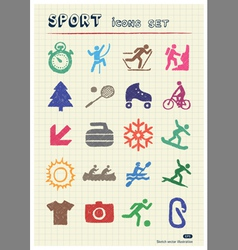 Sport web icons set drawn by color pencils vector image