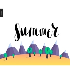 Summer lettering on mountain landscape vector