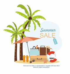 summer suitcase beach accessories and palm tree vector image