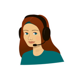 Support girl with headphones - call center vector