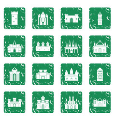 Towers and castles icons set grunge vector