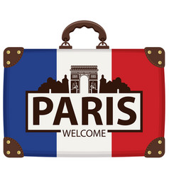 Travel bag with french flag and triumphal arch vector