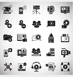Video blog icons set on white background for vector
