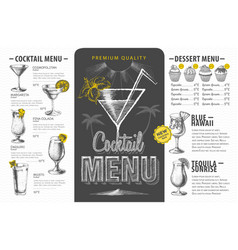 vintage cocktail menu design beverages menu vector image