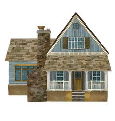 Watercolor portrait a cozy house or cottage vector