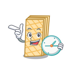 With clock waffle character cartoon style vector