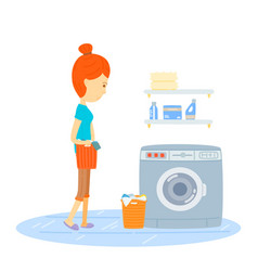 woman are washing woman hold a basket of cloth go vector image