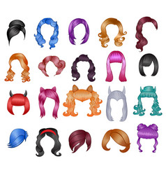 woman hairstyle wigs halloween haircut and vector image