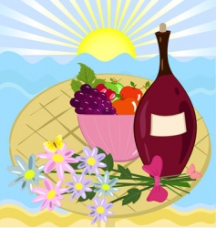 fruit flowers and a bottle of wine vector image vector image