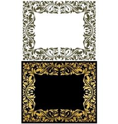 Golden frame with decorative floral elements vector image