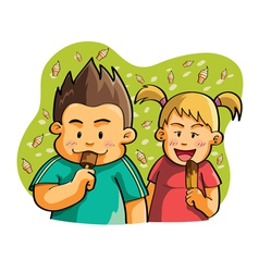 kids eating ice cream vector image