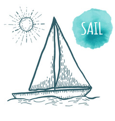 sail drawing on white background hand drawn vector image