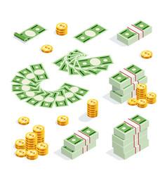 set of isometric money isolated vector image