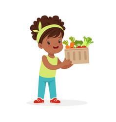 sweet black little girl holding basket full of vector image