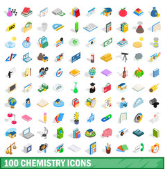100 chemistry icons set isometric 3d style vector image