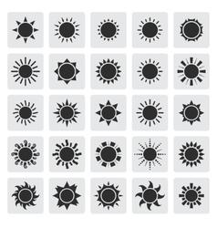Big black sun icons set vector