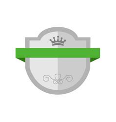 blank silver shield premium vintage badge graphic vector image