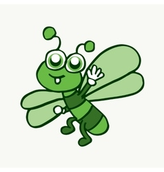Cartoon funny dragonfly design for kids vector image